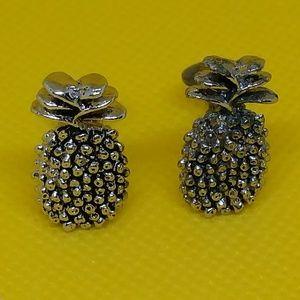 Vintage silver tone pineapple clip on earrings